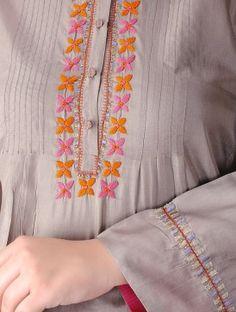 Grey Pintuck Silk Kurta Embroidery On Kurtis, Hand Embroidery Dress, Kurti Embroidery Design, Embroidery Neck Designs, Embroidery On Clothes, Embroidered Clothes, Hand Embroidery Stitches, Embroidery Fashion, Beaded Embroidery