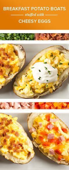 Breakfast potato boats stuffed with cheesy eggs — your morning just got so good!