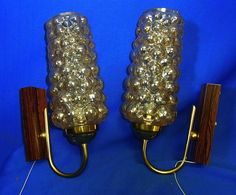 PAIR Mid Century Vanity Sconces Wall Lamp Brass BUBBLE Glass Eames Time