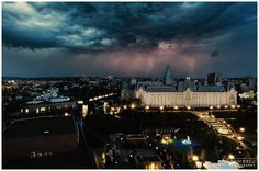 City of Iasi (Romania) in the storm - The landmark of Palace of Culture, from the city of Iasi (Romania) illuminated by lightning storm.