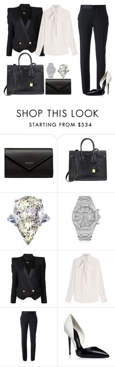"""Untitled #1558"" by rosechicgeorgia ❤ liked on Polyvore featuring Balenciaga, Yves Saint Laurent, Audemars Piguet, Balmain, Valentino and Emanuel Ungaro"