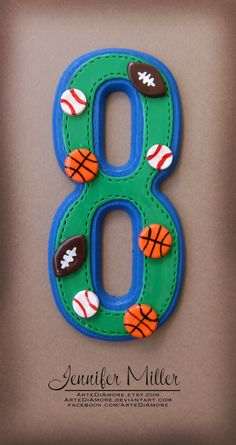 Items similar to Sports Theme Number or Letter Birthday Cake Topper on Etsy Number Cake Toppers, Fondant Cupcake Toppers, Number Cakes, Number Birthday Cakes, Birthday Cake Toppers, Birthday Decorations, Sports Birthday, Sports Party, Fondant Letters