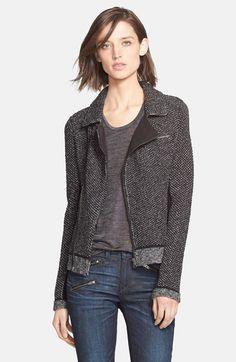 rag & bone 'Melinda' Metallic Knit Biker Jacket available at #Nordstrom
