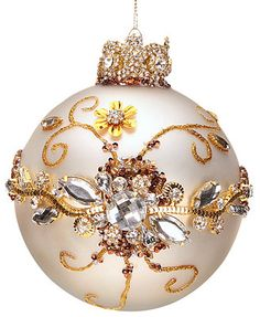 Mark Roberts Jeweled White with Clear Jewels Ball Ornament