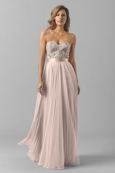 Shop Watters Bridesmaid Dress - Brescia in Bella Lace at Weddington Way. Find the perfect made-to-order bridesmaid dresses for your bridal party in your favorite color, style and fabric at Weddington Way. Champagne Bridesmaid Dresses, Bridesmaid Dress Styles, Wedding Bridesmaids, Wedding Attire, Wedding Gowns, Strapless Bridesmaid Dresses, Fashion Bubbles, Maid Of Honour Dresses, Maxi Robes