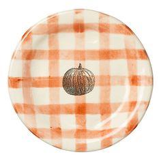 Gingham pumpkin plates. too cute!