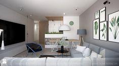 Mieszkanie 101 m2 - Średni salon z kuchnią z jadalnią, styl skandynawski - zdjęcie od TK Architekci