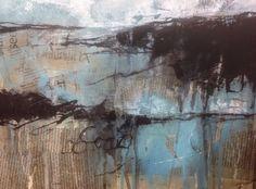 Winter light (ii). Acrylic/ink/collage on watercolour board. © Mari French 2015. #abstract #landscape #estuary #coast #texture #saltmarsh