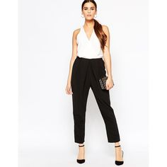 Adelyn Rae Black and White V Front Jumpsuit (€98) ❤ liked on Polyvore featuring jumpsuits, blackwhite, black and white jumpsuit, white and black jumpsuit, jumpsuits & rompers, black white jumpsuit and tall jumpsuits