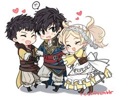 FE: Awakening - Owain, Lon'qu and Lissa. Love this family! Feel the love Lon'qu!
