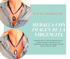 Collar en hilo satén con medallita de la Virgen María Collar, Virgin Mary, Jewels, Accessories