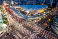 https://flic.kr/p/nkyp8F | Dongdaemun Design Plaza | Seoul, South Korea  The Dongdaemun Design Plaza & Park (DDP) is a large urban development project in Dongdaemun, Seoul, South Korea that includes a park, exhibition spaces, and restored parts of the Seoul fortress. Originally planned for completion by 2010 to coincide with Seoul's designation as World Design Capital that year, but construction only started in April 2009, and the DDP was officially inaugurated on March 21, 2014. Organiz...