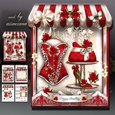 Boutique Shaped Card Red Roses Mini Kit