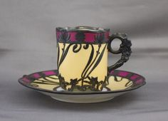 Auctiva's FREE Scrolling Gallery will enhance your listings. For sale is this antique Limoges silver overlay demitasse cup and saucer set in creamy yellow porcelain with magenta edging. The cup measu