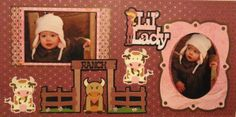 Girl Scrapbook Page - Lil' Lady - 2 page country western layout for a little girl with a cow, bull and a ranch sign - from Everyday Life Album 5