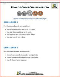 3rd grade money worksheets row of coins challenge 3A | math | Money ...