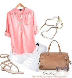 pink top, created by stacy-gustin on Polyvore