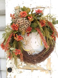 Wreath- Fall Wreath, Fall Rustic Wreath, Autumn Wreath, Designer Wreath, Fall Decor, Housewarming Gift, ATCTTEAM, FlowerPowerOhio