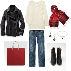 Pop of red outfit..