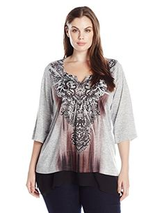 OneWorld Womens Plus Size 34 Sleeve Printed Snit Top with Chiffon Hem True PatchHeather Grey 2X ** You can find out more details at the link of the image.Note:It is affiliate link to Amazon.