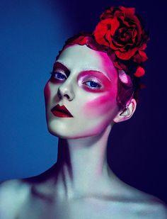 Elizaveta Porodina Photography #face #red #makeup #roses #flowers