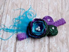 Peacock Satin Pearl Flower Curly Ostrich Puff Rosette Lace Headband.