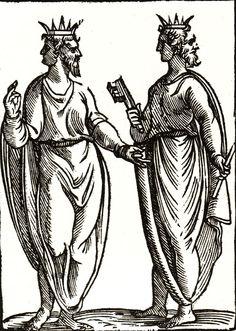 Vincenzo Cartari's book Imagini delli Dei de gl'Antichi ('Images of the Gods of the Ancients'). Medieval Drawings, Medieval Art, Sphinx, Janus, Capricorn And Aquarius, Deities, Occult, Sculpture Art, Printmaking