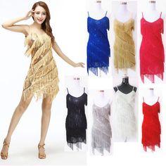 Ladies Latin Salsa Tango Ballroom Dance Dress Fringe Cocktail Tassel Women Skirt #Unbranded
