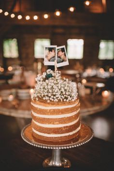 Naked cake with baby's breath + Polaroid pictures | Image by Love and Perry