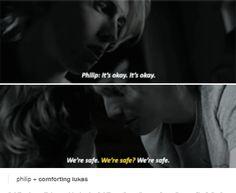 Philip comforting Lukas