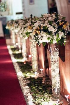 45 Breathtaking Church Wedding Decorations- 45 Breathtaking Church Wedding Decorations I like the idea of fairy lights being used somehow – maybe the reception centerpieces. Prettier after dark - Church Wedding Decorations Aisle, Wedding Church Aisle, Wedding Centerpieces, Wedding Bouquets, Wedding Flowers, Church Weddings, Church Wedding Decorations Rustic, Tall Centerpiece, Wedding Dresses