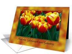 german birthday yellow and orange tulips card. Personalize any greeting card for no additional cost! Cards are shipped the Next Business Day. Orange, Yellow, Tulips, Birthday Cards, German, Greeting Cards, Peach, Fruit, Bday Cards