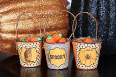 Halloween treat cups...peat pots, paint, free printables, mod podge, another version has crepe paper.