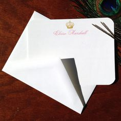 Vintage Crown Custom Stationery Set by VeronicaFoleyDesign on Etsy