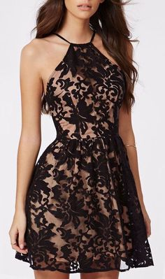 nude dress with black lace design