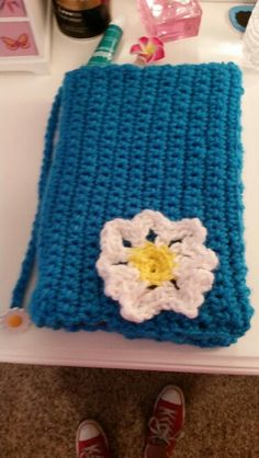 Cute crocheted  daisy book cover with bookmark