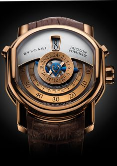 The new Daniel Roth Papillon Voyageur for Bulgari features two time zones that are read off centrally. The new Daniel Roth Papillon Voyageur Dream Watches, Men's Watches, Cool Watches, Bvlgari Watches, Unique Watches, Modern Watches, Pocket Watches, Casual Watches, Luxury Watches For Men