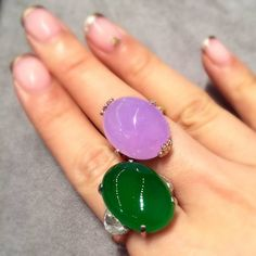 """""""Surreal combination. Jadeite come in such beautiful colours. Lots 1924 and 1970 from our December 1 'Magnificent Jewels' auction in Hong Kong…"""""""