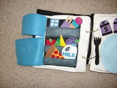 Cool quiet book page! Fridge full of food with a dinner plate.