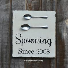 Spooning Since Couples Gift Wedding Sign Custom Kitchen Sign Personalized Wood Sign Kitchen Decor Dining Anniversary Gift Rustic Painted