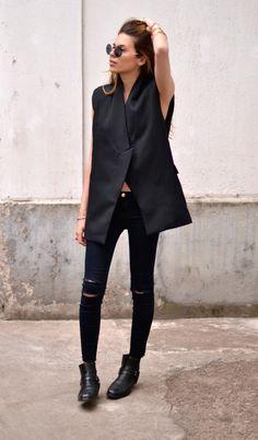 Black tux vest, black skinnies, all black!