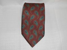 "BROOKS BROTHERS MAKERS Mens Neck Tie 100% SILK Brown/Teal/Red Paisley 59"" Long  #BrooksBrothers #NeckTie"