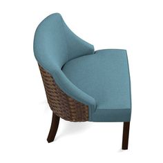 Handy Living Valdez Caribbean Blue Linen Rattan Back Chair Sophisticated Style, Blue Fabric, Rattan, Solid Wood, Caribbean, Armchair, Home And Garden, Bed, Furniture