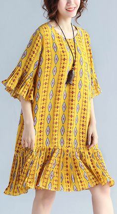 Elegant-yellow-prints-chiffon-shift-dresses-oversized-chiffon-clothing-dresses-women-ruffles-hem-ruffles-sleeve-dress