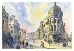 Early Morning Grey Street Newcastle upon Tyne by Roy Francis Kirton  Signed limited edition mounted print