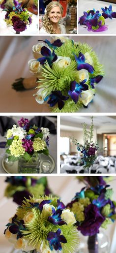 Amanda Puhlalski & Keith Fox 4/27/13  Wedding Bouquets - Dyed Blue Dendrobium Orchids, Green Fuji Mums, Purple Lisianthus