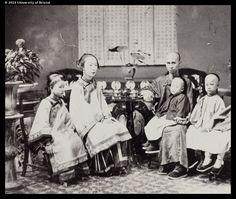 A mandarin or merchant, and his family, Canton, 1860s