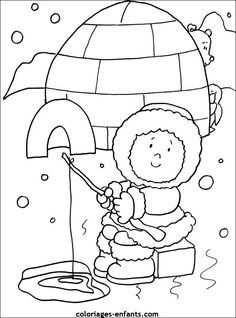 Winter Animals Coloring Pages Elegant Kleurplaat Iglo En Eskimo Preschool