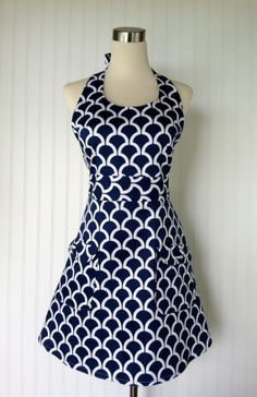 Full Stylish Modern Hostess Apron Navy Blue