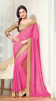 Pink Faux Chiffon Casual Printed Indian Saree - TSHTXVL53